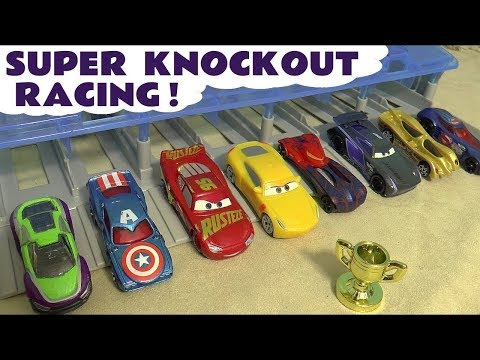 Hot Wheels Cars 3 Knockout Race With Disney Pixar McQueen And Marvel Avengers 4 Superheroes