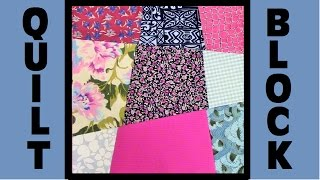 Quilt Block Party - Block 7: Wonky 9 Patch - Crazy Quilt Block Tutorial