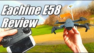 Eachine E58 Wifi FPV Drone DJI Mavic Clone Unboxing Review and Test Flight with Phone UFO App
