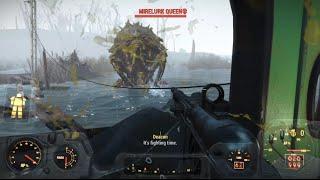 Fallout 4 Killing Mirelurk Kings & Queen & Hunters On Mirelunk Island Spectacle Island Gameplay