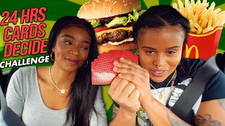 CARDS DECIDE WHAT WE EAT FOR 24 HOURS CHALLENGE MUKBANG | BURGER KING, WENDY'S ..