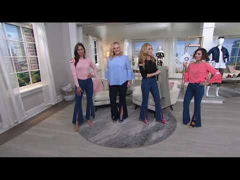 G.I.L.I. Front Slit Wide Leg Jeans on QVC