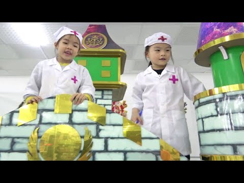 Kids pretend play indoor playground at center for children with nursery rhymes songs for babies
