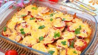 Запеканка из баклажанов, помидоров и картофеля