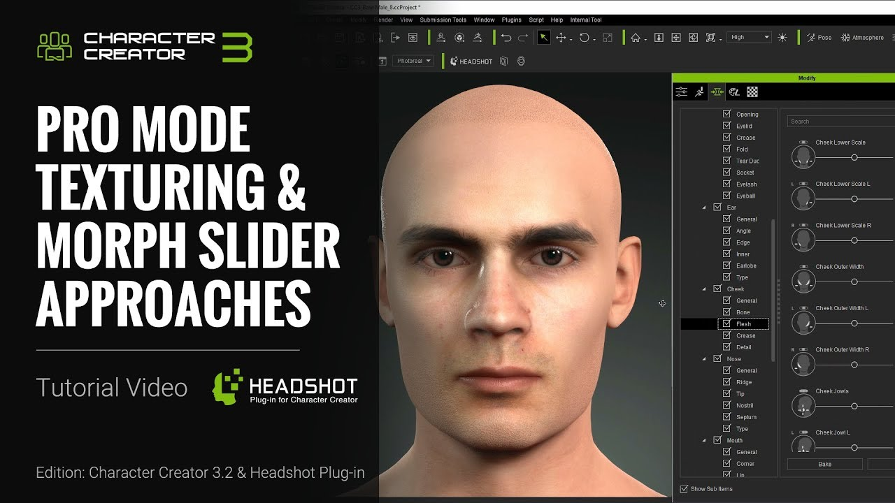 Headshot - Pro Mode Texturing and Morph Slider