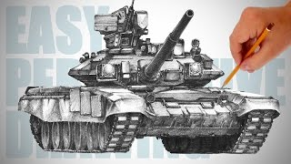 How To Draw A Tank T90  Easy Perspective Drawing 24