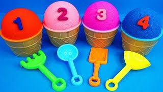 4 Kinetic Sand Ice Cream Cups | Learn Colors Hello Kitty Kinder Surprise Eggs Zuru 5 Surprise Toys