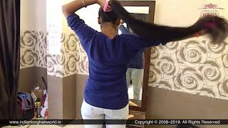 ILHW Yuti's Sensual High Ponytail Making & Flaunting With Knee Length Thick Hair.