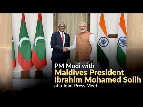 PM Modi with Maldives President Ibrahim Mohamed Solih at a Joint Press Meet