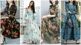 Latest Stylish Collection Of Summer Chiffon Long Dress Maxi Floral Dresses Designs