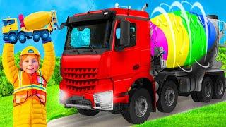 Kinder lernen und spielen mit echten Betonmischer, Bagger & Feuerwehrauto