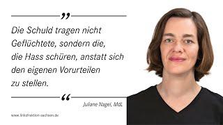 Juliane Nagel (DIE LINKE) in der Sondersitzung des Parlaments am 1.9.2015 zum Thema Asyl