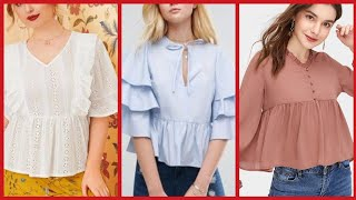 Latest Solid Short Sleeve Curved Hem Plain Chiffon Blouse/top Designr Chiffon Layer Shirts/top