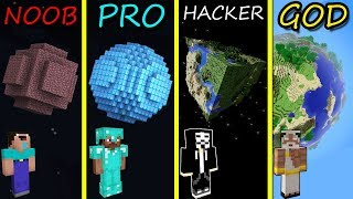 Minecraft Battle: NOOB vs PRO vs HACKER vs GOD: BUILDING PLANET in Minecraft MAP!