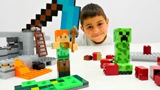 Крипер на Minecraft стройке! Видео с игрушками Майнкрафт Лего.