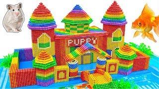 DIY - Build Puppy Castle Hamster House Aquarium With Magnetic Balls (Satisfying) - Magnet Balls