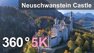 Neuschwanstein Castle, Germany. Aerial 360 video in 5K