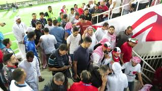 Supporters of Jordan are leaving the stadium after the win against Syria