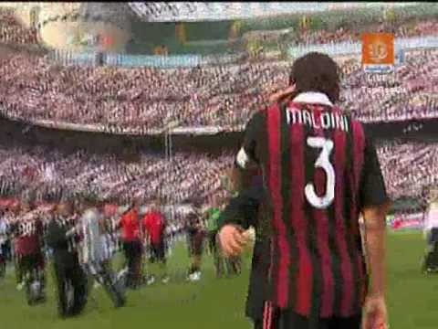 AC Milan 2 3 AS Roma + Maldini's end of the match clip HQ 2009