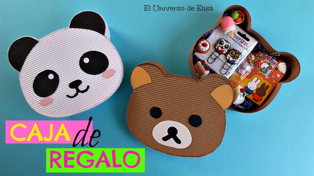 Kawaii Diy, Caja de Regalo Osito Panda/Osito Rilakkuma, Kawaii Gift Box, Caja Cartón Corrugado