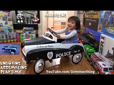 Toddler's Toys: A Classic Ride-On Pedal Police Car Unboxing, Assembling and Ride