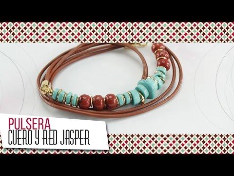 Como hacer pulsera con cordón de cuero y turquesas | VARIEDADES CAROL