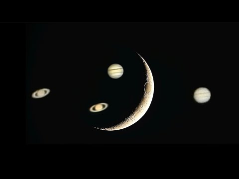 12% Crescent, Jupiter & Saturn - 30,000 Subscribers!  WOW! Thank You :)