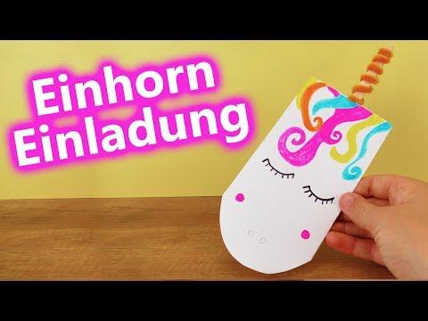 DIY EINHORN EINLADUNGS | süße Unicorn Karte selber machen zum Verschenken