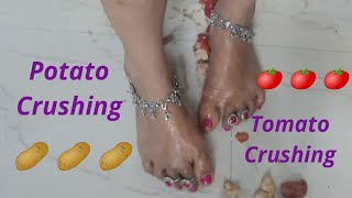 Indian Girl Feet Potato ,Tomato Crashing Video  Feet Crashing    Feet Scrub  By Pihubeautytips