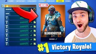 NEW *SECRET* BLOCKBUSTER SKIN GAMEPLAY - Fortnite: Battle Royale! (The Visitor)