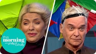 Holly and Phillip Test the Best Umbrellas Against a Giant Wind Machine | This Morning