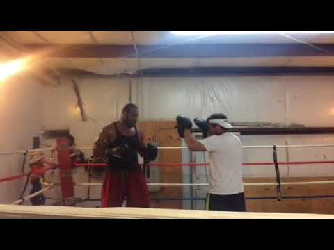 Coach Trigg Mit work with Heavy weight Pro Boxer Rodriquez