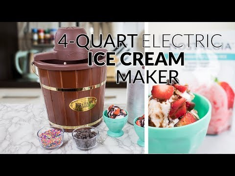 , Nostalgia ICMW400 4-Quart Wood Bucket Ice Cream Maker