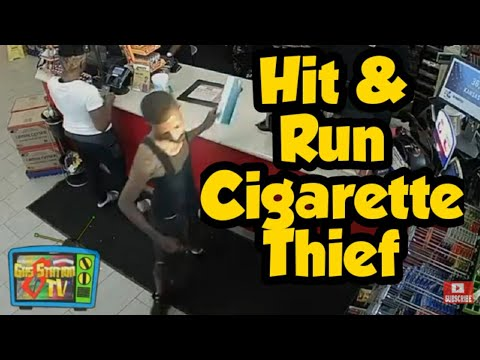 The Hit & Runner Shoplifter - Gas station thief crashes his car into innocent bystander!