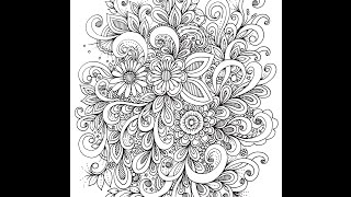 Slow Doodling  Overlapping Flowers