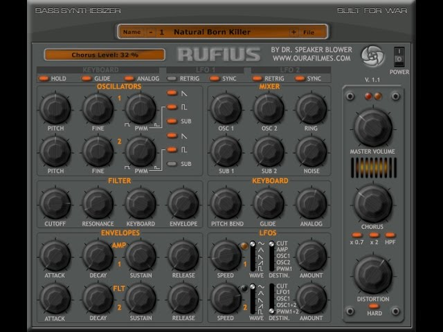 RUFIUS VSTi Demo - FREE VST plugin featuring 2 sub-oscillators
