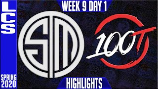 TSM vs 100 Highlights | LCS Spring 2020 W9D1 | Team Solomid vs 100 Thieves