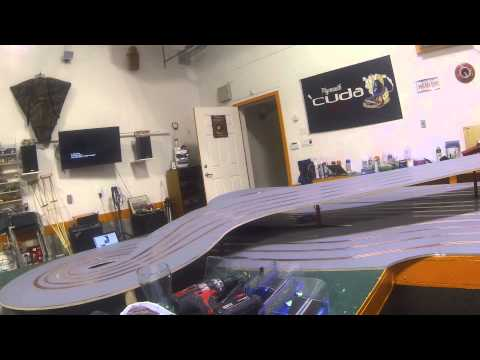 first trail run on wooden slot car track.track unfinished