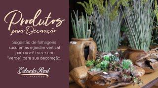 Sugestão de vasos e arranjos de folhas, arbustos e flores artificiais.