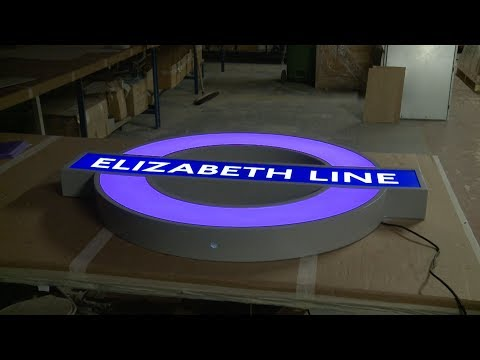 First iconic purple Elizabeth line roundels installed