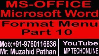 MS-Word 2003 Format Menu Part 10
