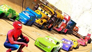 Человек паук катается на машинах, Молния Маквин.  Видео для детей.  Про машинки. Мультфильм.