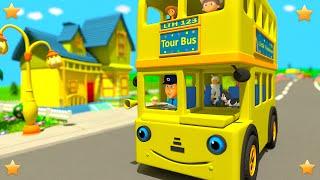 Yellow Wheels On The Bus | Kindergarten Nursery Rhymes & Songs For Kids