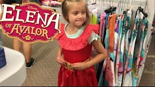CUTE LITTLE GIRL GETS ELENA OF AVALOR DRESS AT DISNEY STORE
