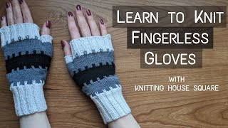Learn To Knit Striped Fingerless Mittens | Step-By-Step Knitting Tutorial | Knitting House Square