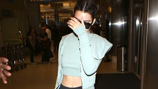 Kendall Jenner Shows Off Her Abs At LAX