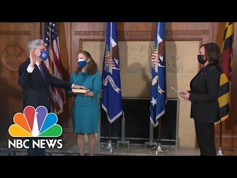Kamala Harris Swears In Merrick Garland As Attorney General | NBC News NOW