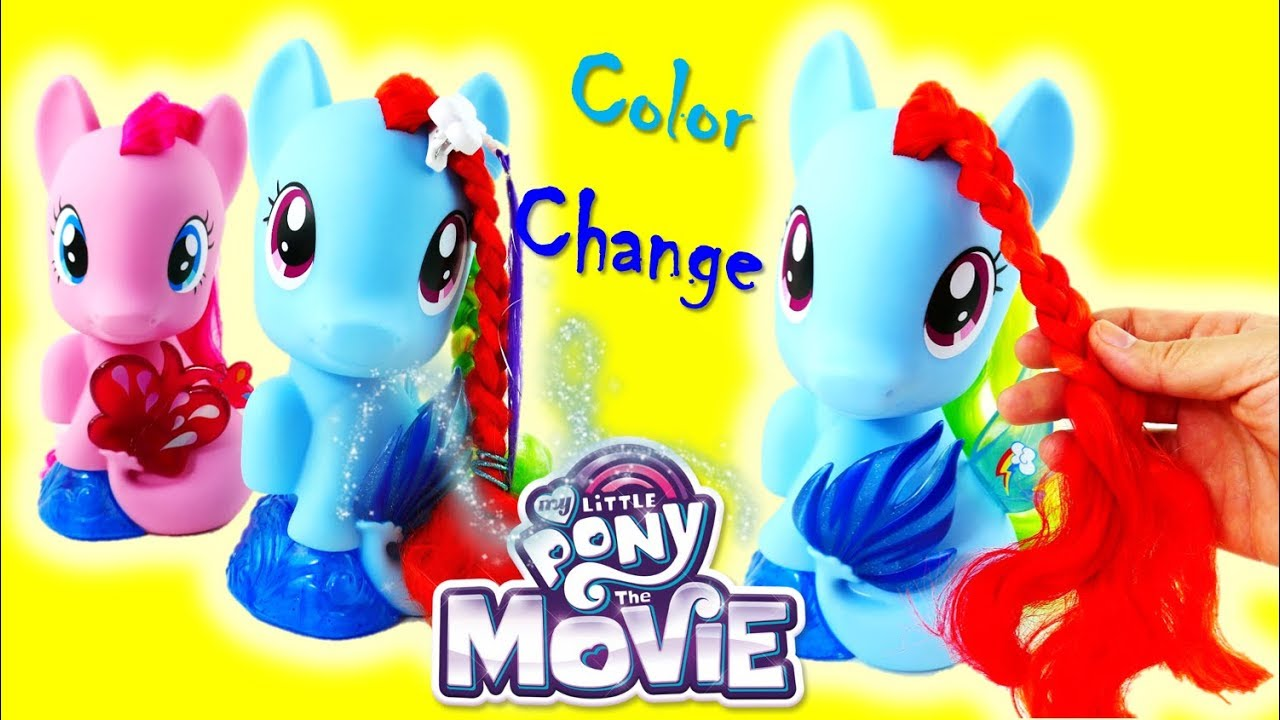 New My Little Pony Movie 2017 Toy Rainbow Dash Magic Style Seapony Styling Head - Color change tail