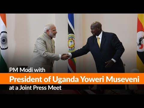 PM Modi with President of Uganda Yoweri Museveni at a Joint Press Meet