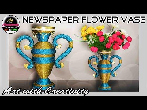 Newspaper Flower vase | Flower pot | Best out of Waste | DIY | Art with Creativity 187